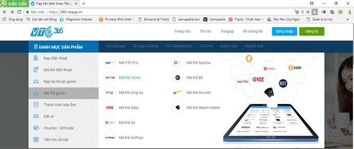 Bước 1: Vui lòng đăng nhập vào giao diện https://365.vtcpay.vn/ để chọn mua  thẻ Vcoin.